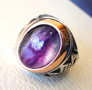 natural fluorite purple huge men ring sterling silver 925 color unique stone in bronze frame all sizes jewelry fast shipping oxidized style