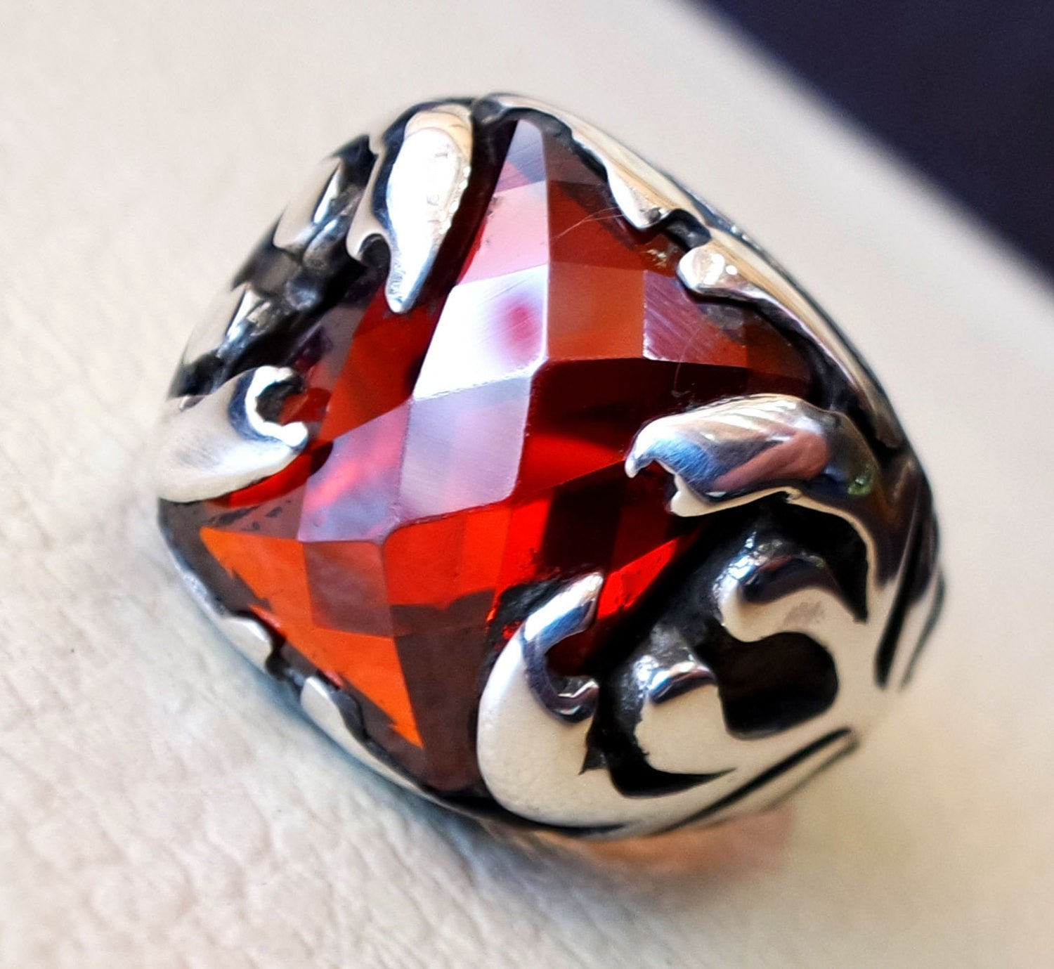 red ruby color cabochon octagon stone man ring sterling silver 925 all sizes high quality jewelry ottoman middle eastern antique style