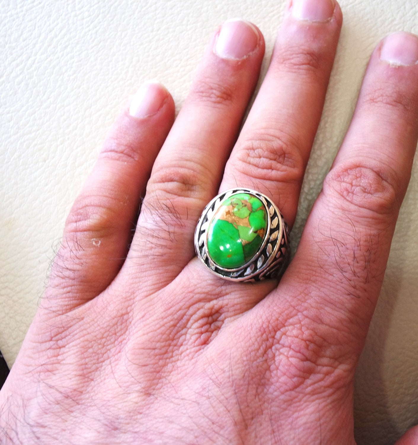 green copper turquoise huge natural stone men ring sterling silver 925 stunning genuine gem ottoman arabic style jewelry all sizes