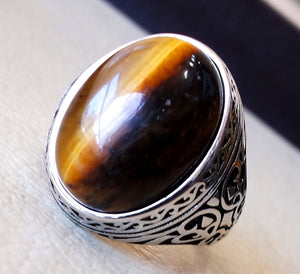 men ring sterling silver 925 cat eye tiger eye semi precious natural cabochon stone any size ottoman turkish middle eastern arabic jewelry