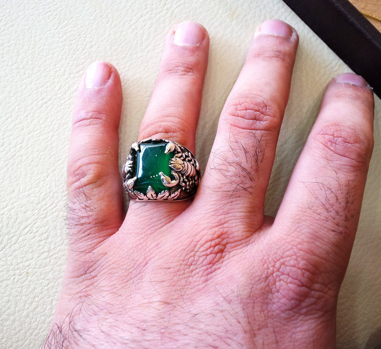 huge scorpion sterling silver 925 huge ring any size rectangular green aqeeq agate middle eastern vintage handmade jewelry fast shipping