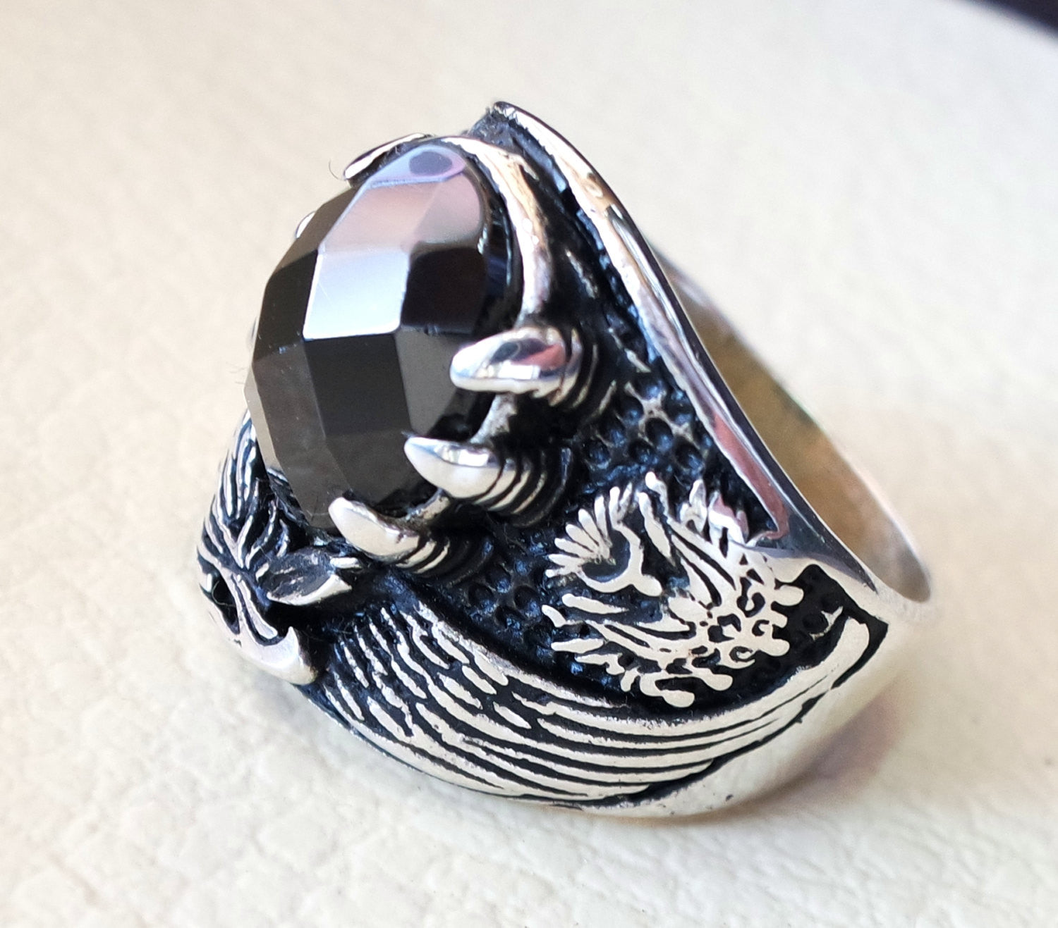 black onyx oval stone arabic men ring sterling silver 925 eagle arabic ottoman symbols turkish jewelry style all sizes fast shipping
