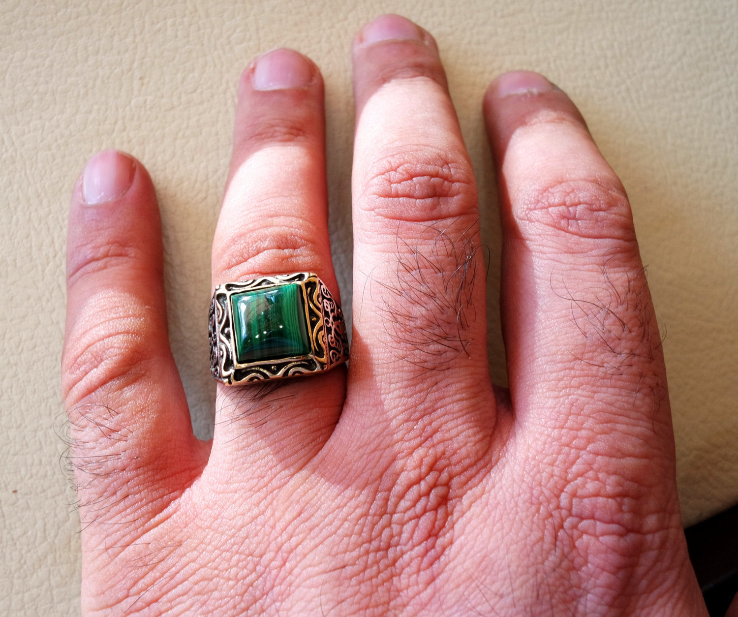 square natural malachite high quality green stone heavy sterling silver 925 man ring bronze frame any size ottoman style jewelry