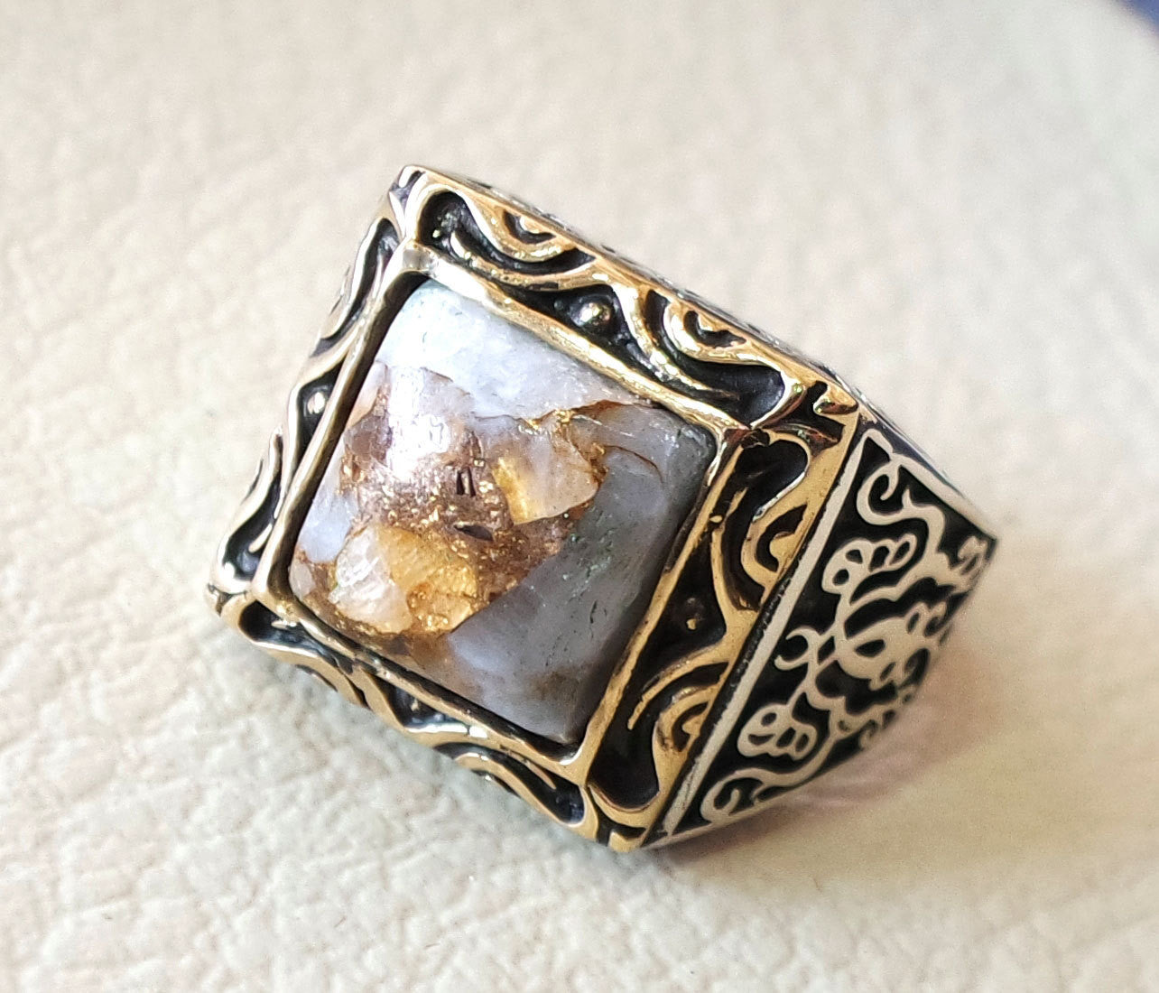 square natural copper calcite high quality white stone heavy sterling silver 925 man ring bronze frame any size ottoman style jewelry