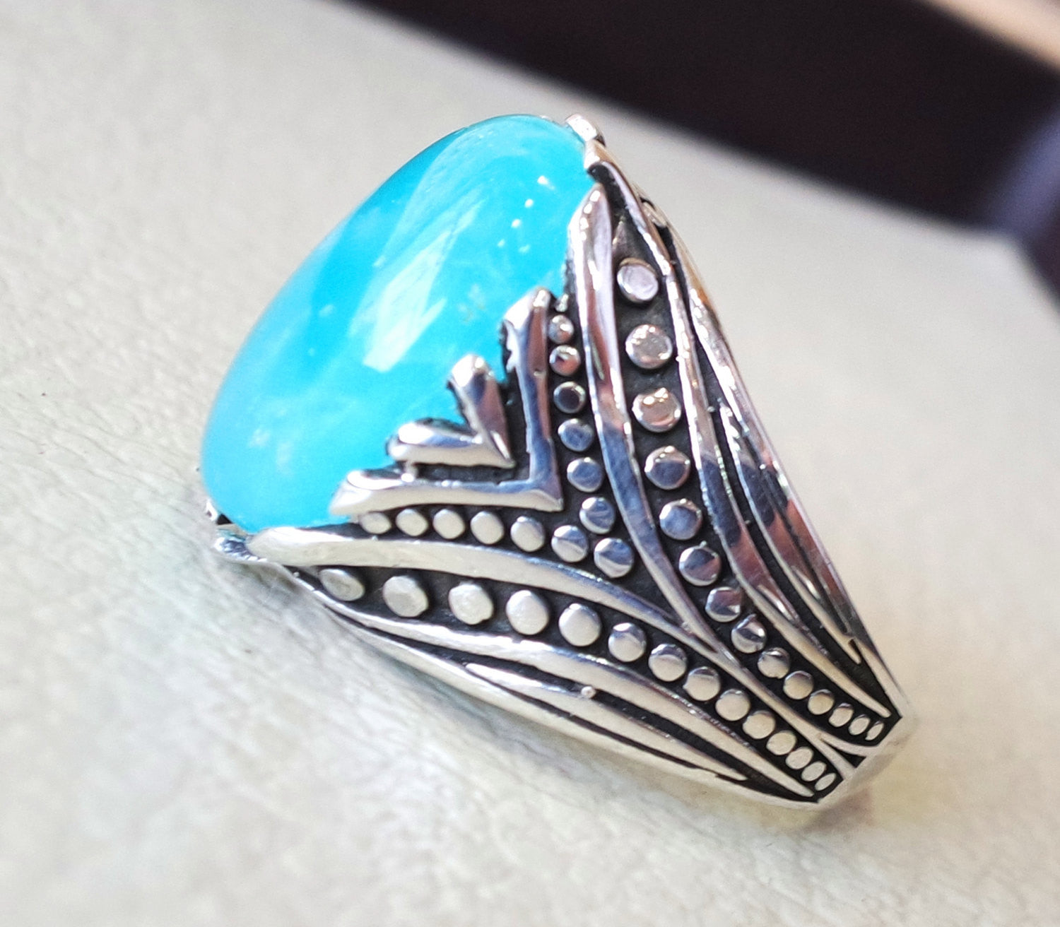 smithsonite natural sky blue stone ring sterling silver 925 men jewelry all sizes semi precious gem highest quality arabic ottoman style