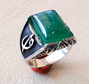 ottoman green onyx agate aqeeq sterling silver 925 antique men ring arabic waw vav jewelry any size free shipping natural  rectangular stone