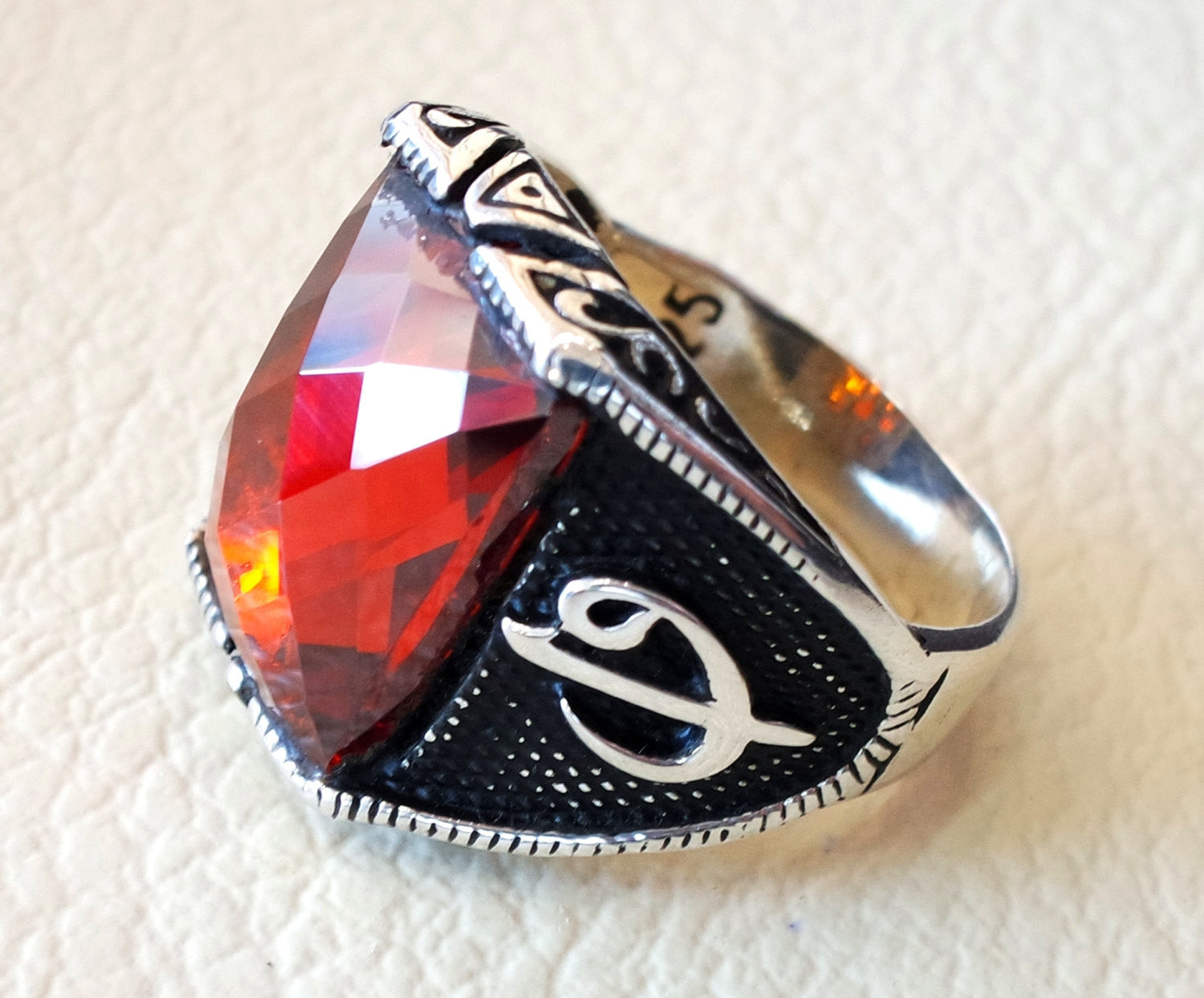 ottoman red ruby imitation  sterling silver 925 antique men ring arabic waw vav jewelry any size fast shipping rectangular stone