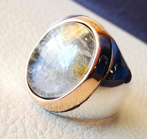 Golden rutile quartz natural stone semi precious oval cabochon sterling silver 925 huge man ring ottoman turkey style any size bronze frame