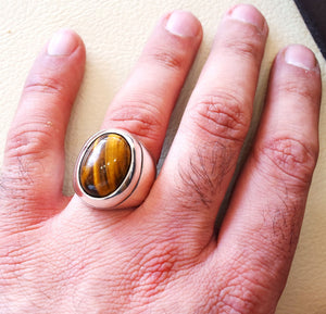 cat eye tiger eye semi precious naturl stone heavy men ring sterling silver 925 any size ottoman turkish middle eastern arabic jewelry