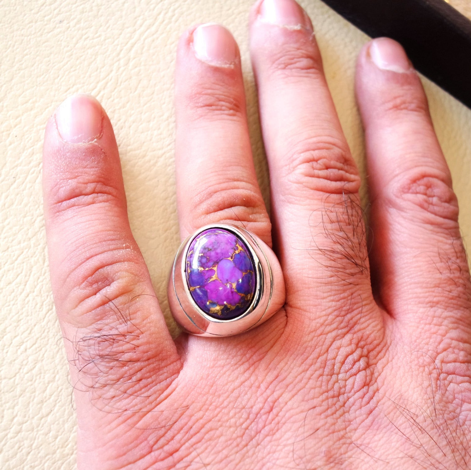 ottoman style heavy huge ring men sterling silver 925 jewelry copper purple turquoise high quality semi precious natural stone fast shipping