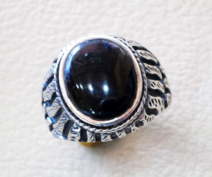 aqeeq natural agate onyx oval stone black gem man heavy ring sterling silver antique ottoman turkey style fast shipping all sizes men gift