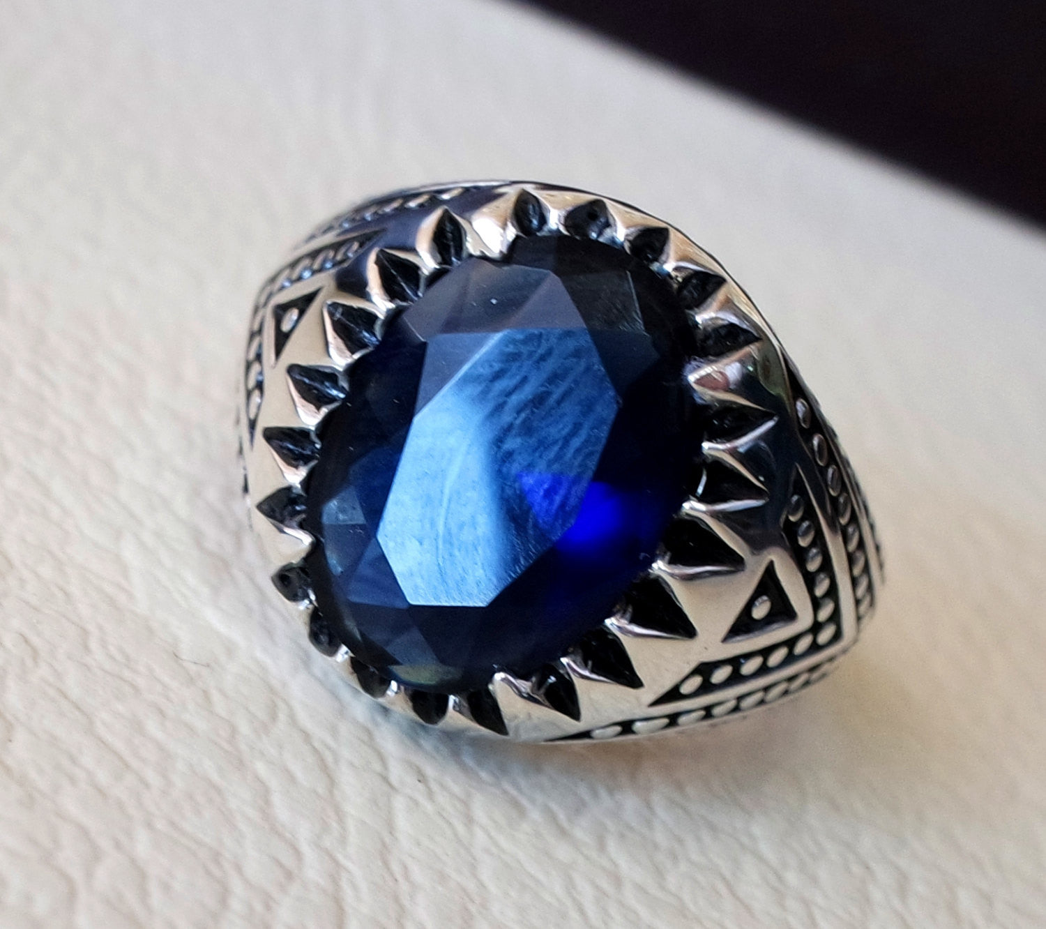 Dark deep purplish blue cubic zircon men ring sterling silver 925 sky unique stone all sizes jewelry fast shipping oxidized ottoman style