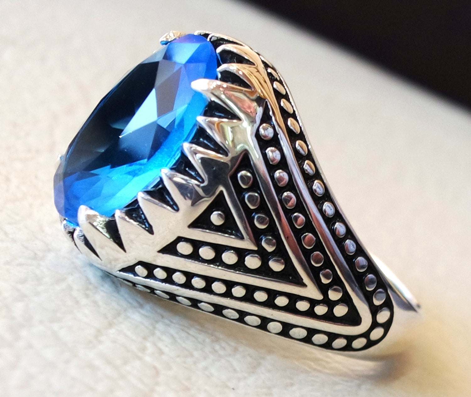 sky blue cubic zircon men ring sterling silver 925 sky unique stone all sizes jewelry fast shipping ottoman style