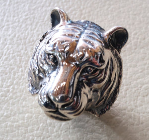 huge bengal tiger very heavy sterling silver 925 man biker ring all sizes handmade animal head jewelry fast shipping detailed craftsmanship