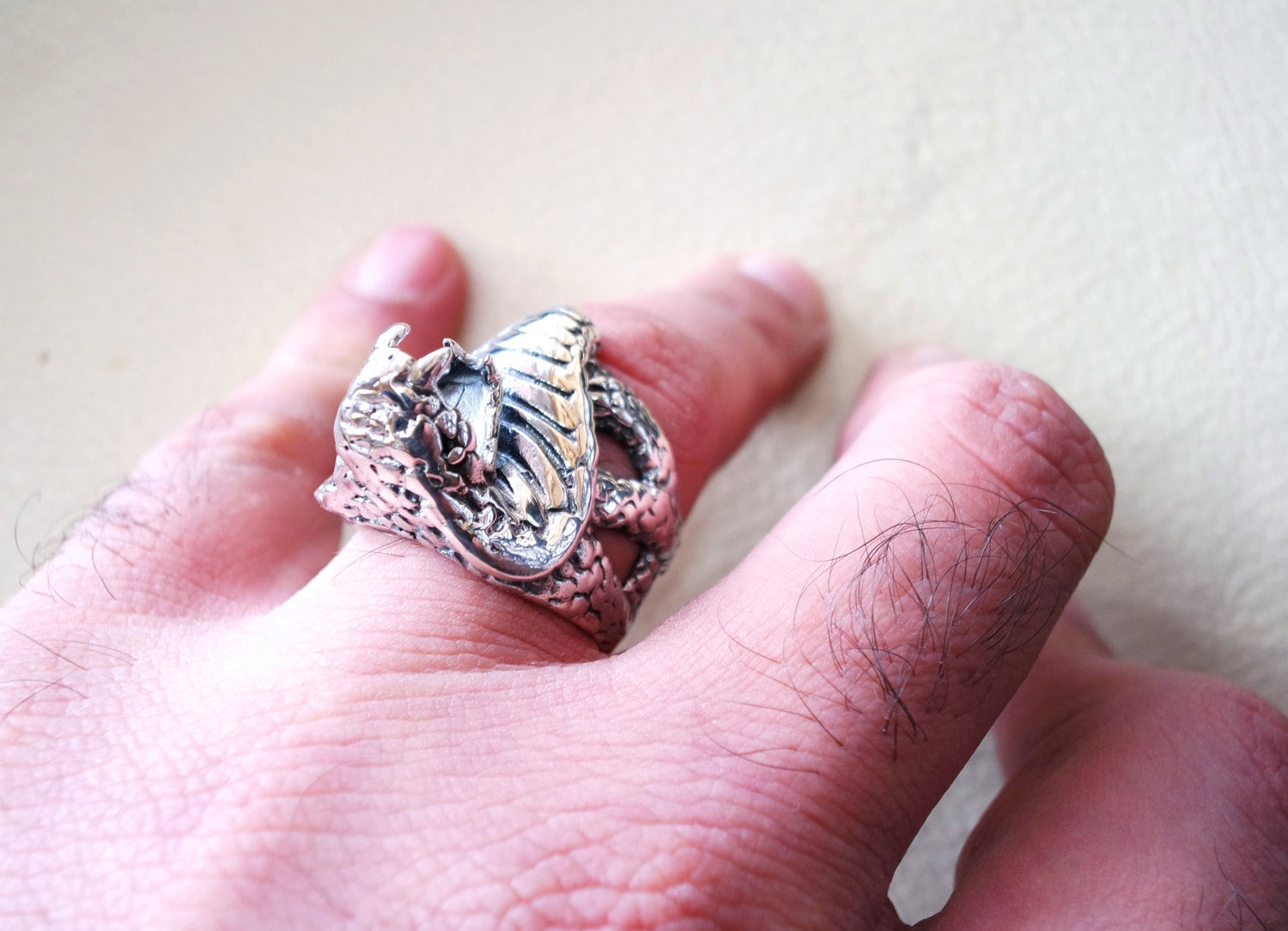 huge cobra snake ring heavy sterling silver 925 man biker ring all sizes handmade animal head jewelry fast shipping detailed craftsmanship