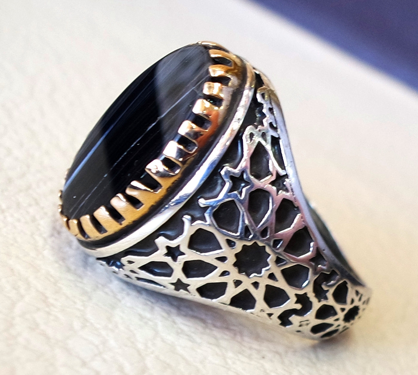 striped natural onyx agate black flat stone sterling silver 925 men ring arabic turkish ottoman style all sizes jewelry with bronze frame