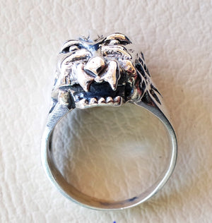 beast head ring  heavy sterling silver 925 man biker ring all sizes handmade animal jewelry fast shipping detailed craftsmanship