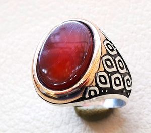 aqeeq men ring sterling silver 925 high quality agate carnelian oval red orange stone  jewelry any size antique arab style bronze frame