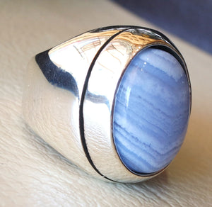 blue lace agate natural stone silver 925 huge men ring vintage arabic turkish ottoman antique style man jewelry oval cabochon all sizes