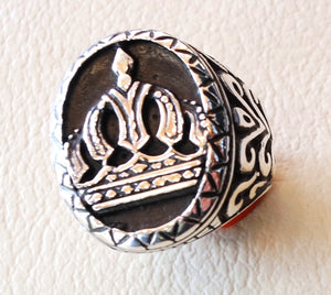 royal crown men ring sterling silver 925 vintage style big heavy jewelry all sizes king black and white
