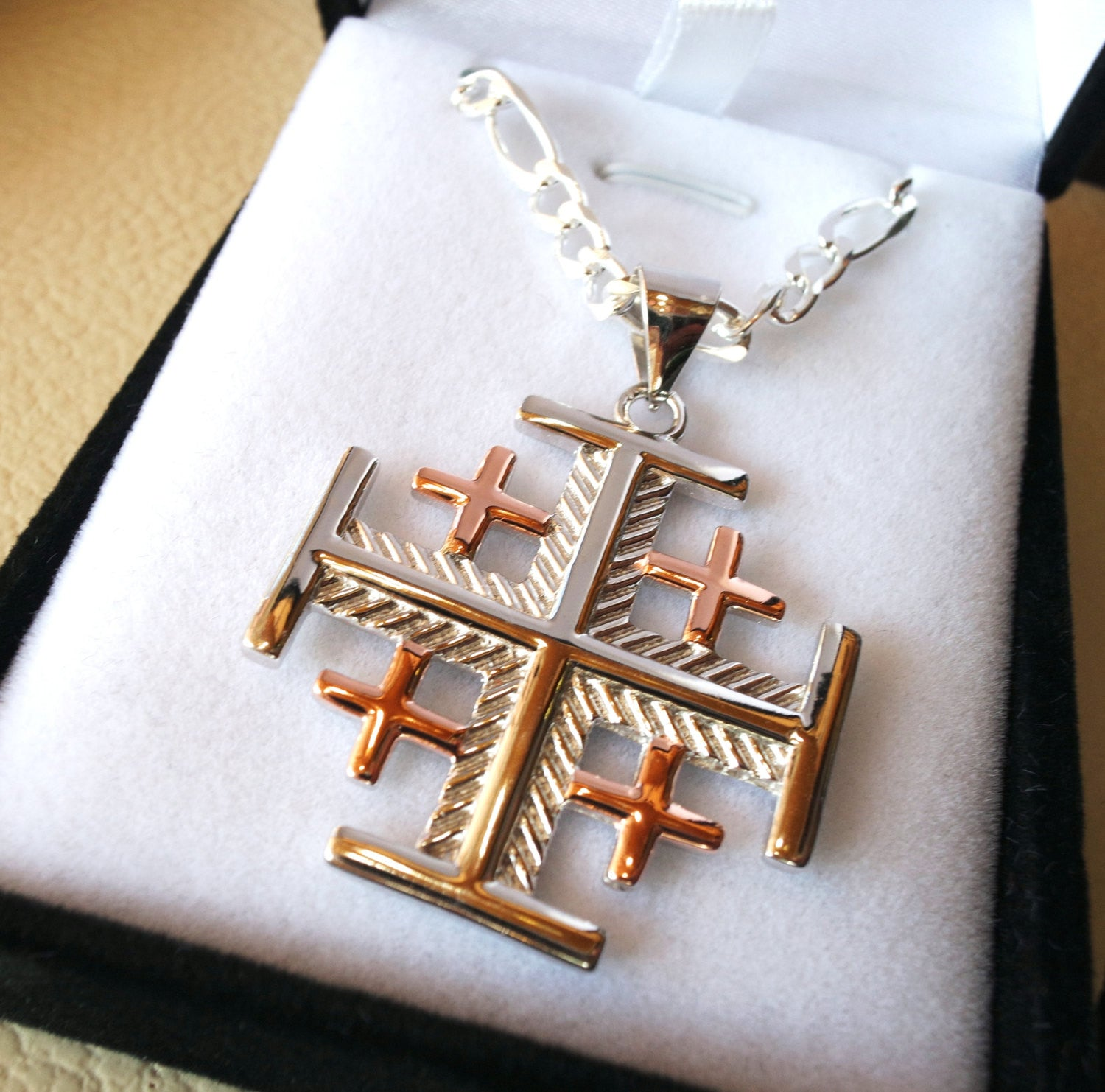 gold plated gemstone pin silver genuine jerusalem cross black onyx pendant sterling