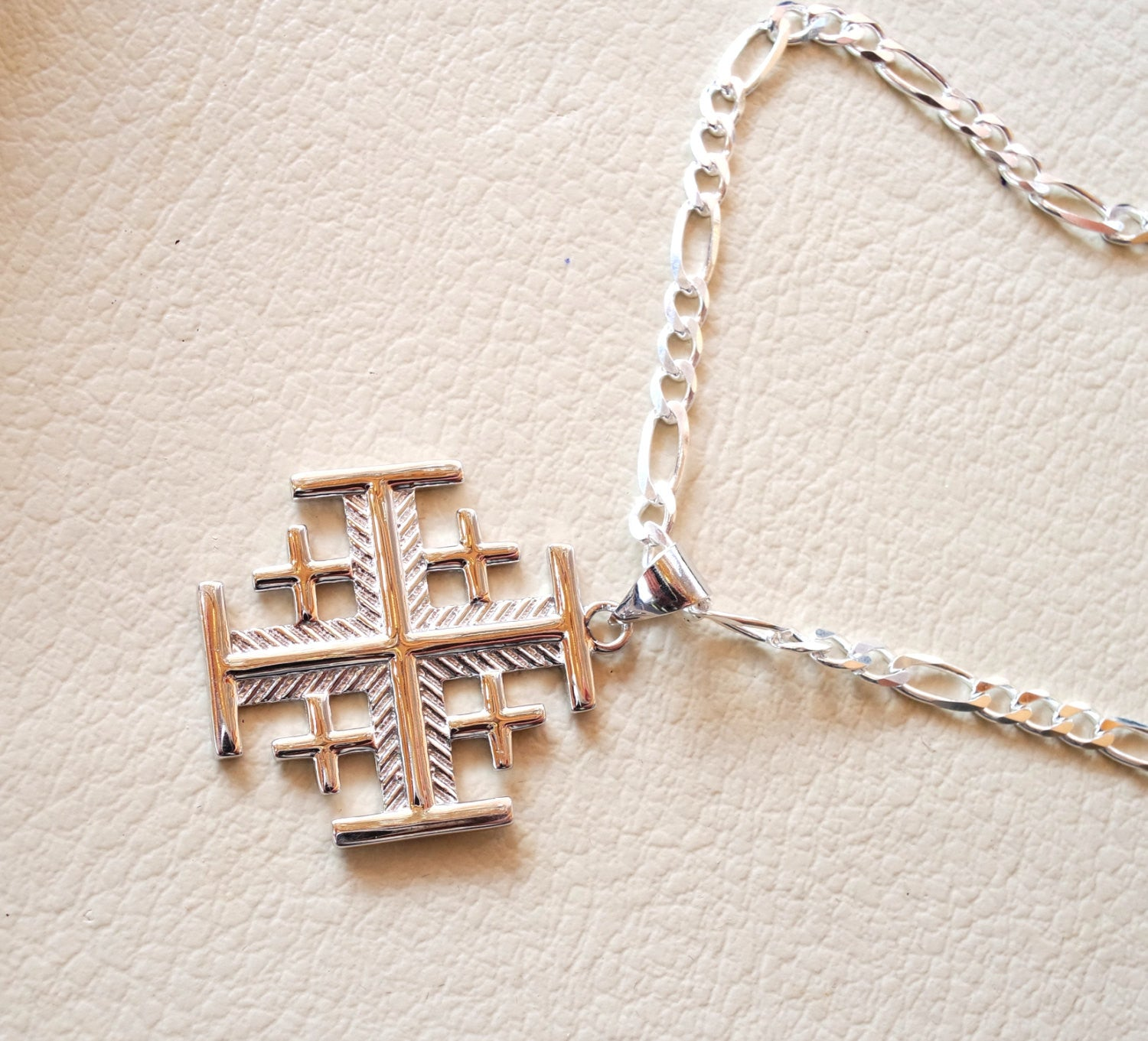 Jerusalem cross pendant with heavy chain sterling silver 925 middle eastern jewelry christianity vintage handmade heavy fast shipping