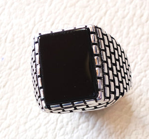 men's ring black natural rectangular flat onyx black agate aqeeq sterling silver 925 all size brick  building style fast shipping