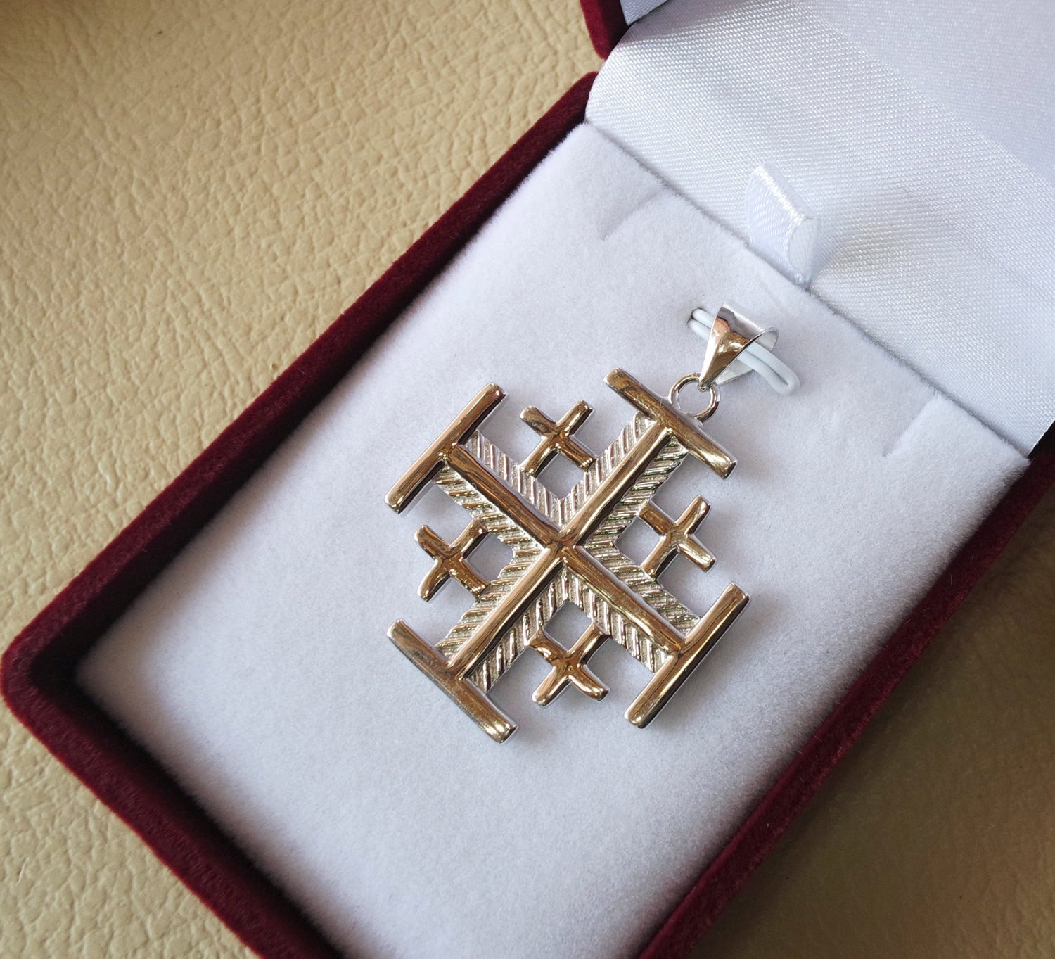pendant cross jerusalem silver