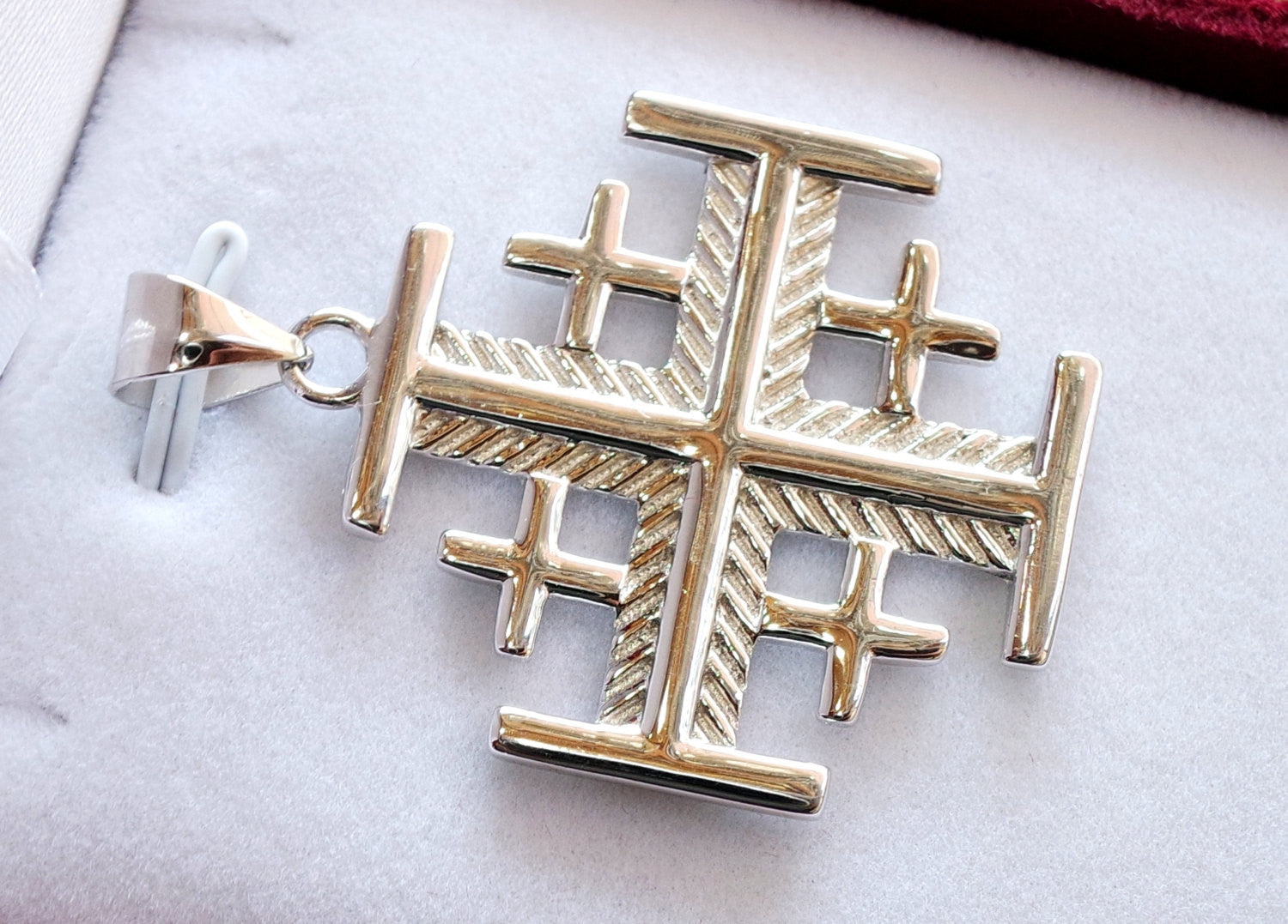Jerusalem cross pendant sterling silver 925 middle eastern jewelry christianity vintage handmade heavy express shipping