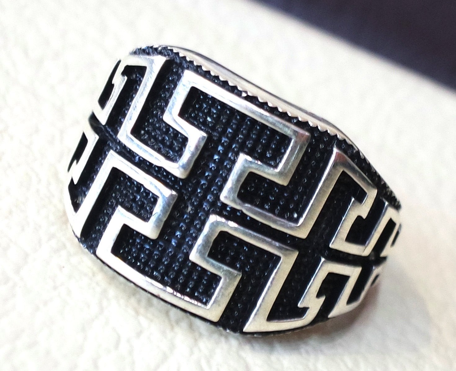 celtic knot sterling silver 925 heavy man ring rectangular shape any size antique style high quality jewelry
