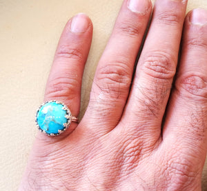 Natural Arizona turquoise highest quality  women ladies round ring sterling silver 925  blue color stone all sizes filigree style jewelry