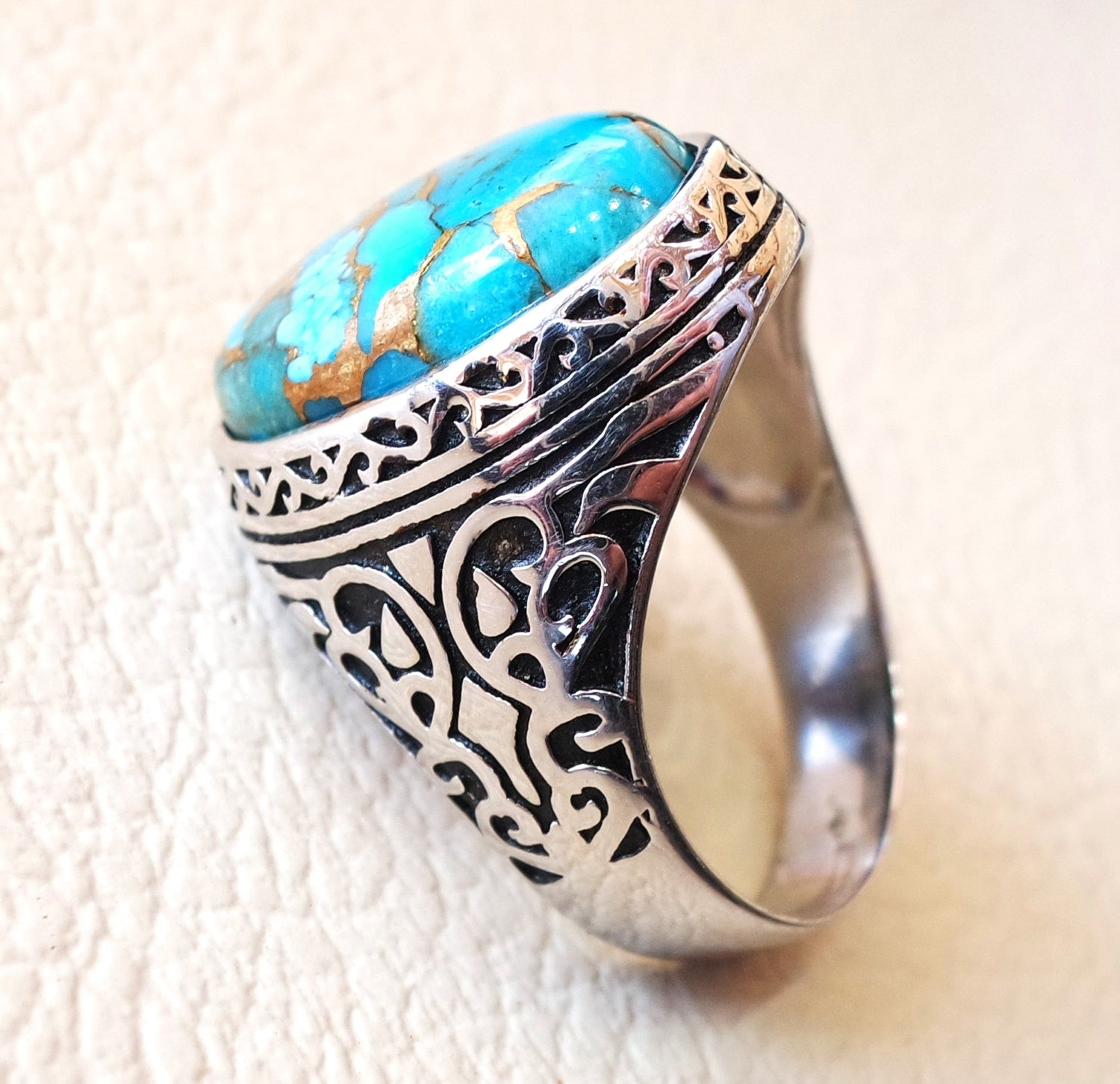 man ring copper turquoise natural stone sterling silver 925 oval cabochon semi precious gem ottoman arabic style all sizes jewelry