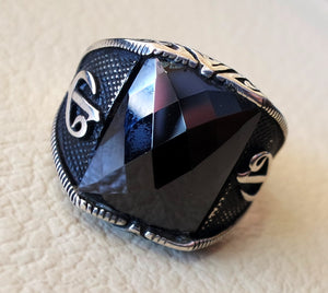 black onyx arabic numbers abjad waw vav men ring sterling silver 925 arabic ottoman sufi turkish islam jewelry  all sizes fast shipping