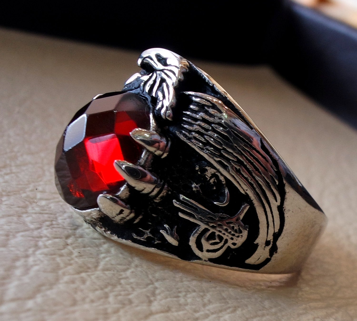 red ruby imitation oval stone arabic men ring sterling silver 925 eagle arabic ottoman symbols turkish jewelry style all sizes fast shipping