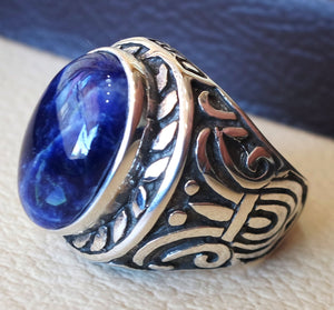 Sodalite huge natural stone dark royal blue men ring sterling silver 925 stunning genuine gem two ottoman arabic style jewelry all sizes