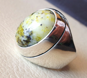 yellow dendritic grass howlite natural gem sterling silver 925 ring oval semi precious cabochon man huge ring ottoman jewelry fast shipping