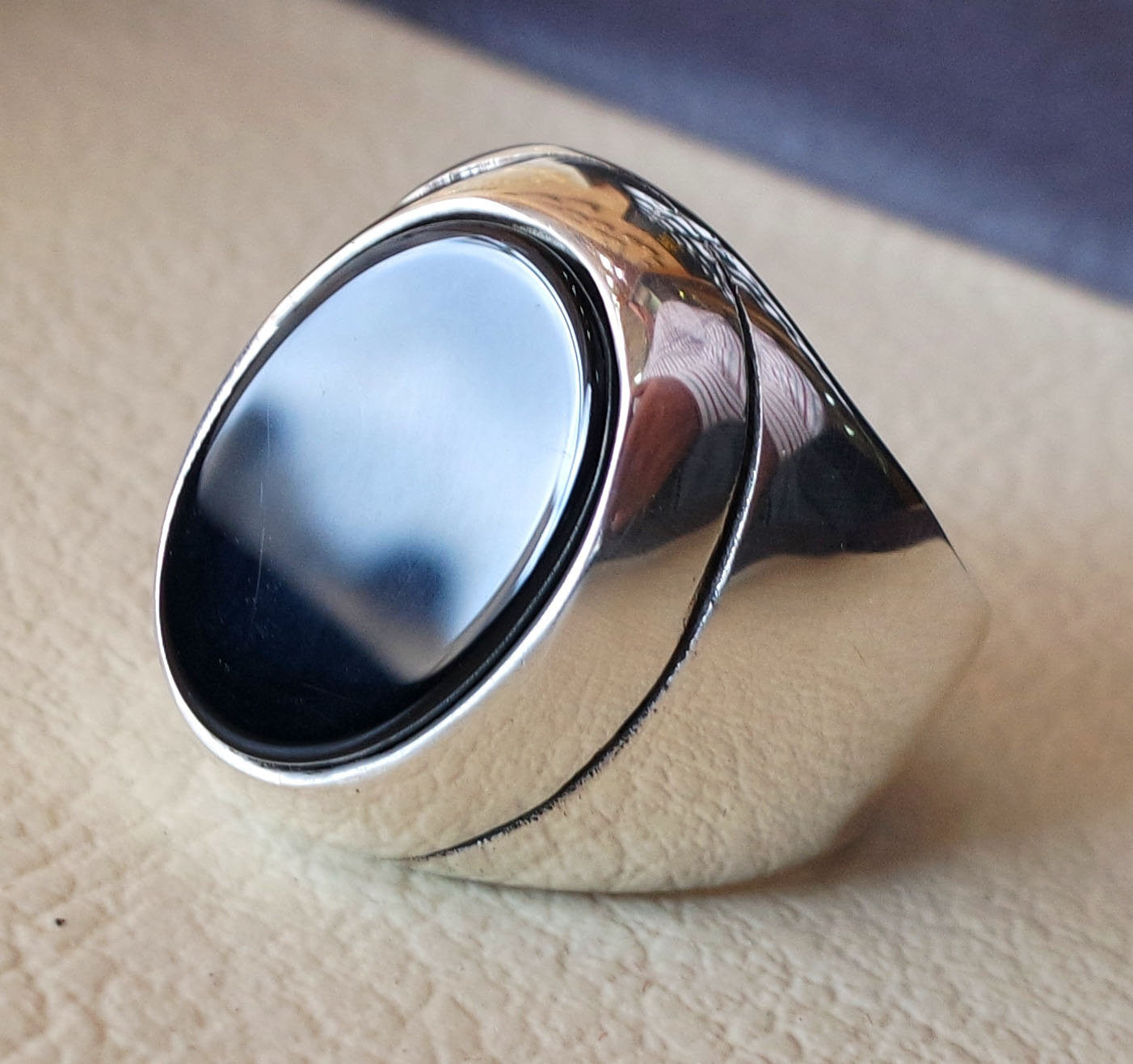 aqeeq natural agate onyx semi precious stone oval black flat heavy man ring sterling silver arabic middle eastern turkey style fast shipping