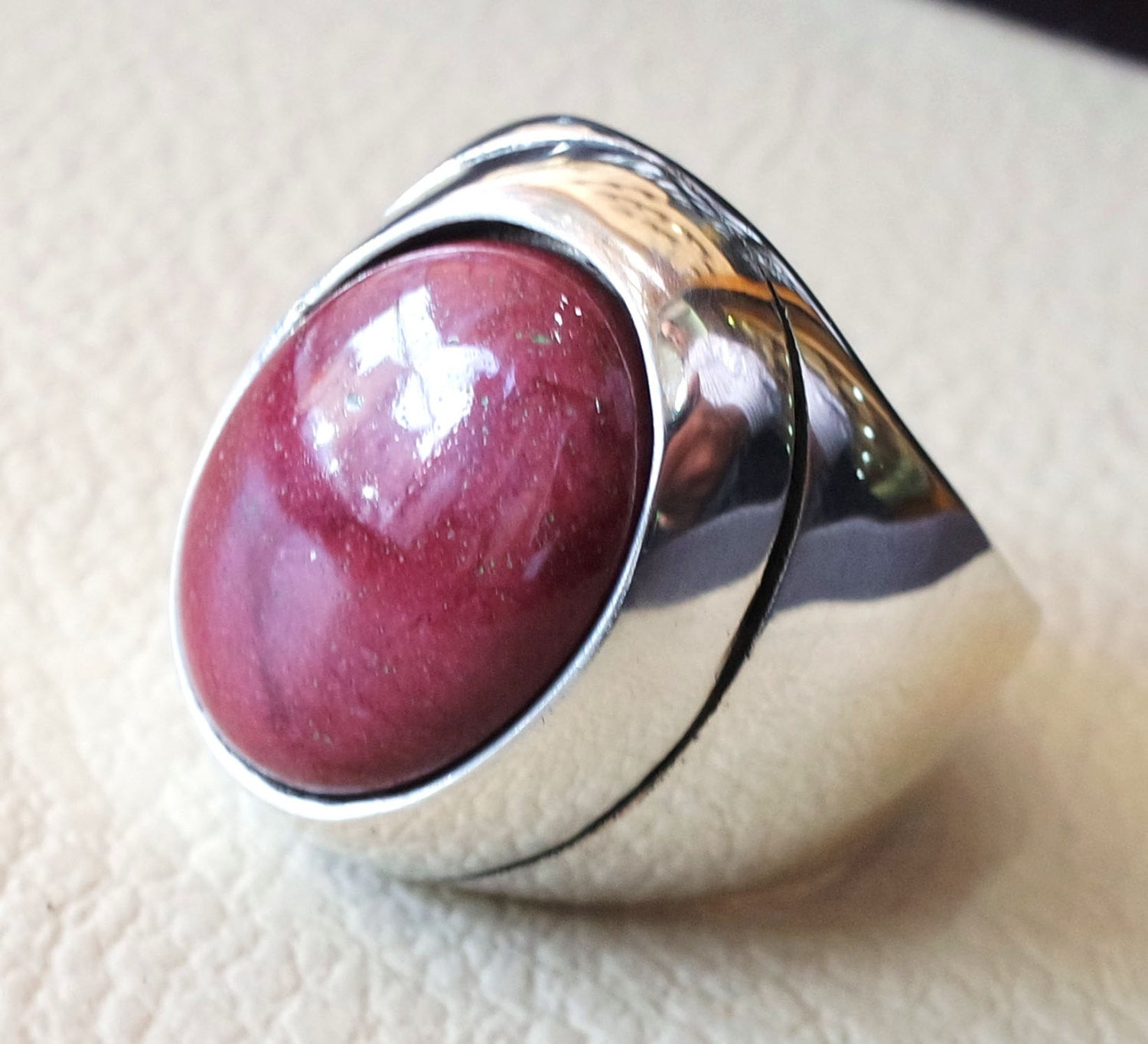 red rose mookaite jasper aqeeq natural stone sterling silver 925 heavy men ring vintage arabic turkish style all sizes fast shipping