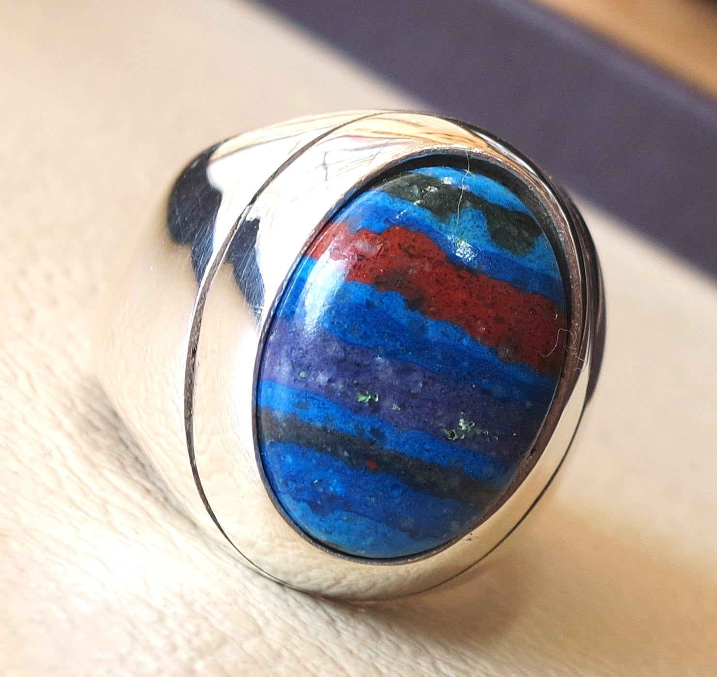 natural rainbow Calsilica colorful semi precious stone sterling silver heavy man ring any size blue red purple light dark high quality gem