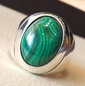 huge malachite natural green stone sterling silver 925 ring jewelry eastern turkish arabic style oval semi precious cabochon fast shipping