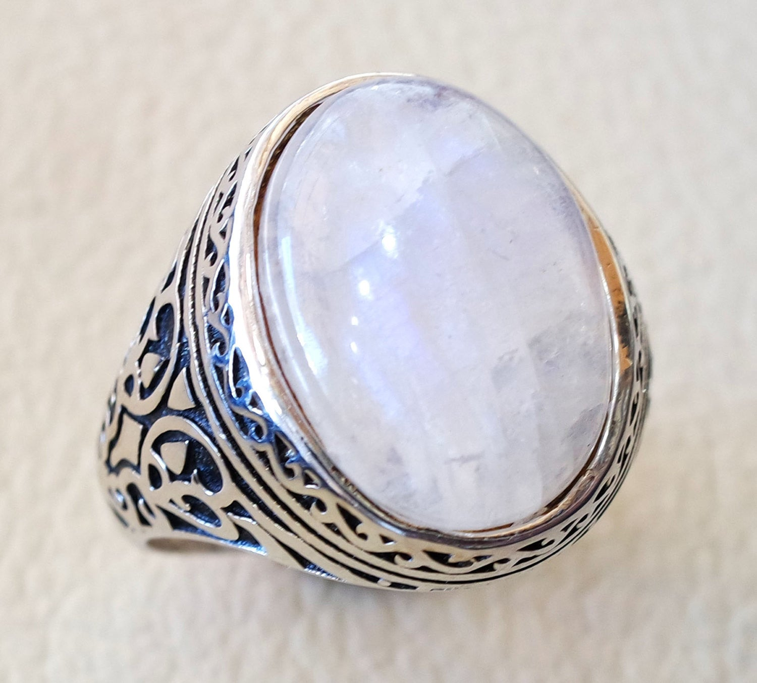 moonstone natural stone durr al najaf men ring jewelry sterling silver 925 stunning genuine gem ottoman arabic style jewelry all sizes