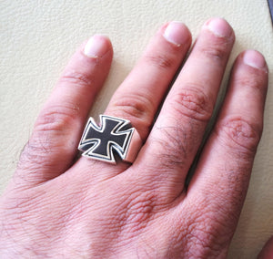 cross jesus christian sterling silver 925 and black enamel heavy huge man ring jewelry fast shipping catholic orthodox style all sizes
