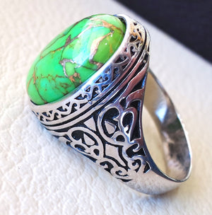 man ring copper green turquoise natural stone sterling silver 925 oval cabochon semi precious gem ottoman arabic style all sizes jewelry