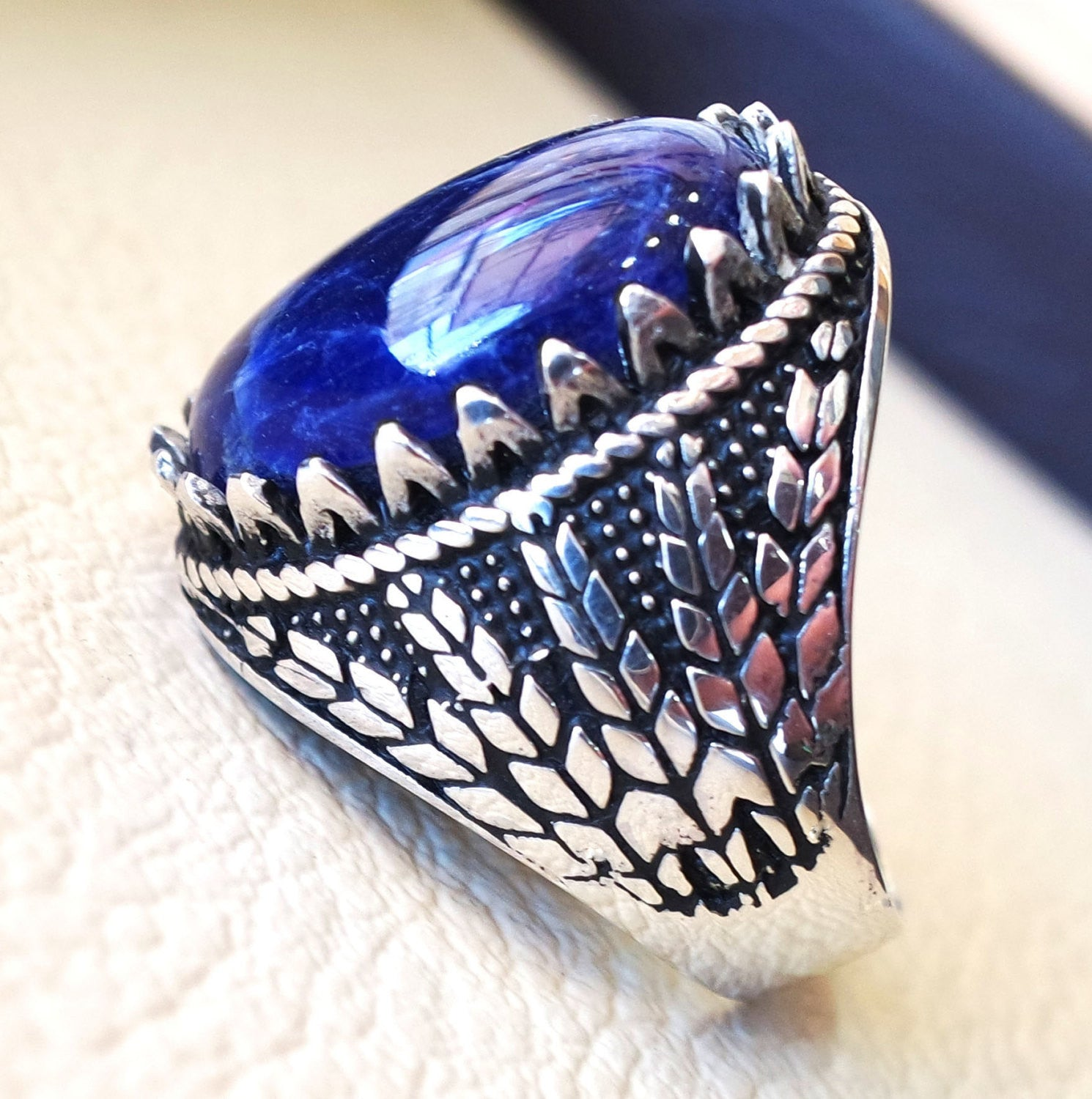 Sodalite natural stone dark royal blue men wheat ring sterling silver 925 stunning genuine gem two ottoman arabic style jewelry all sizes