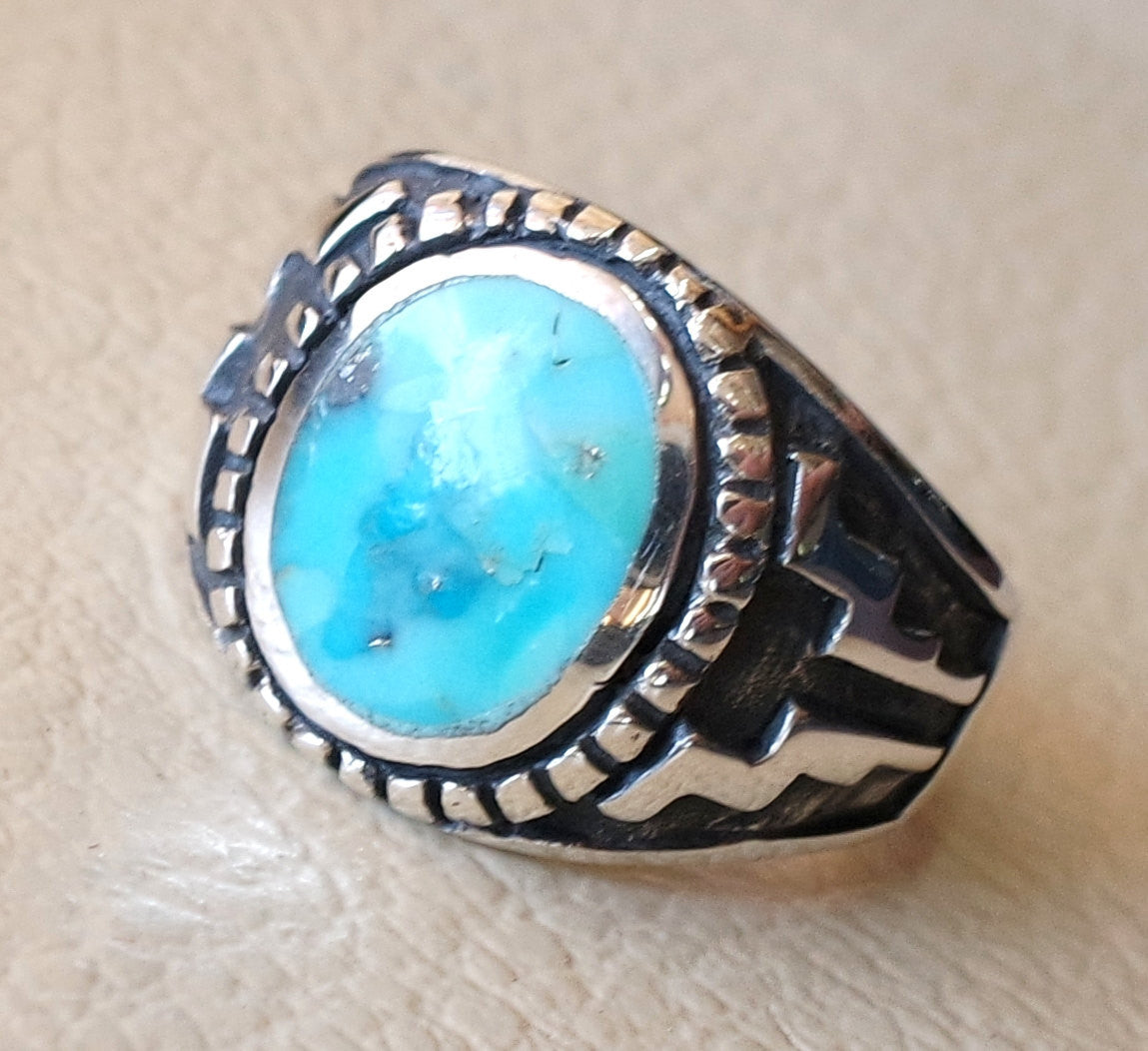 restructured natural turquoise oval blue stone sterling silver 925 man ring  any size  middle eastern ottoman style jewelry