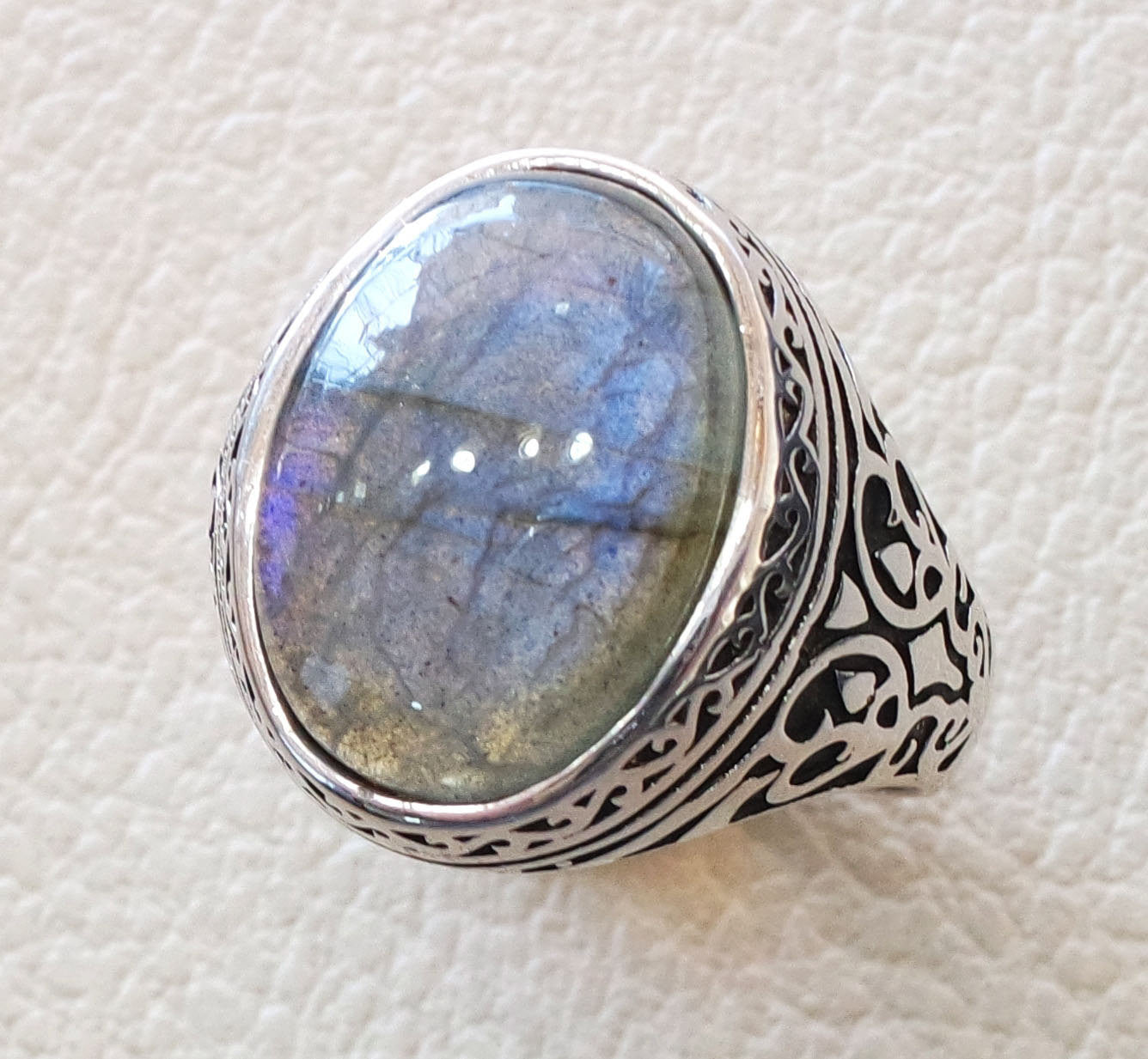 flashy blue labradorite men ring sterling silver 925  natural stone all sizes jewelry fast shipping ottoman middle eastern style