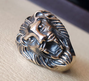 huge lion ring very heavy sterling silver 925 man biker ring all sizes handmade animal head jewelry fast shipping detailed craftsmanship