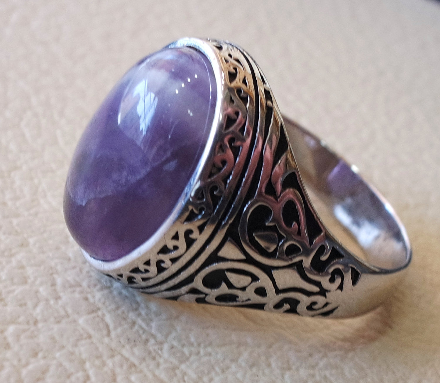 amethyst agate natural purple stone sterling silver 925 man ring vintage arabic turkish ottoman style jewelry oval  gem all sizes express