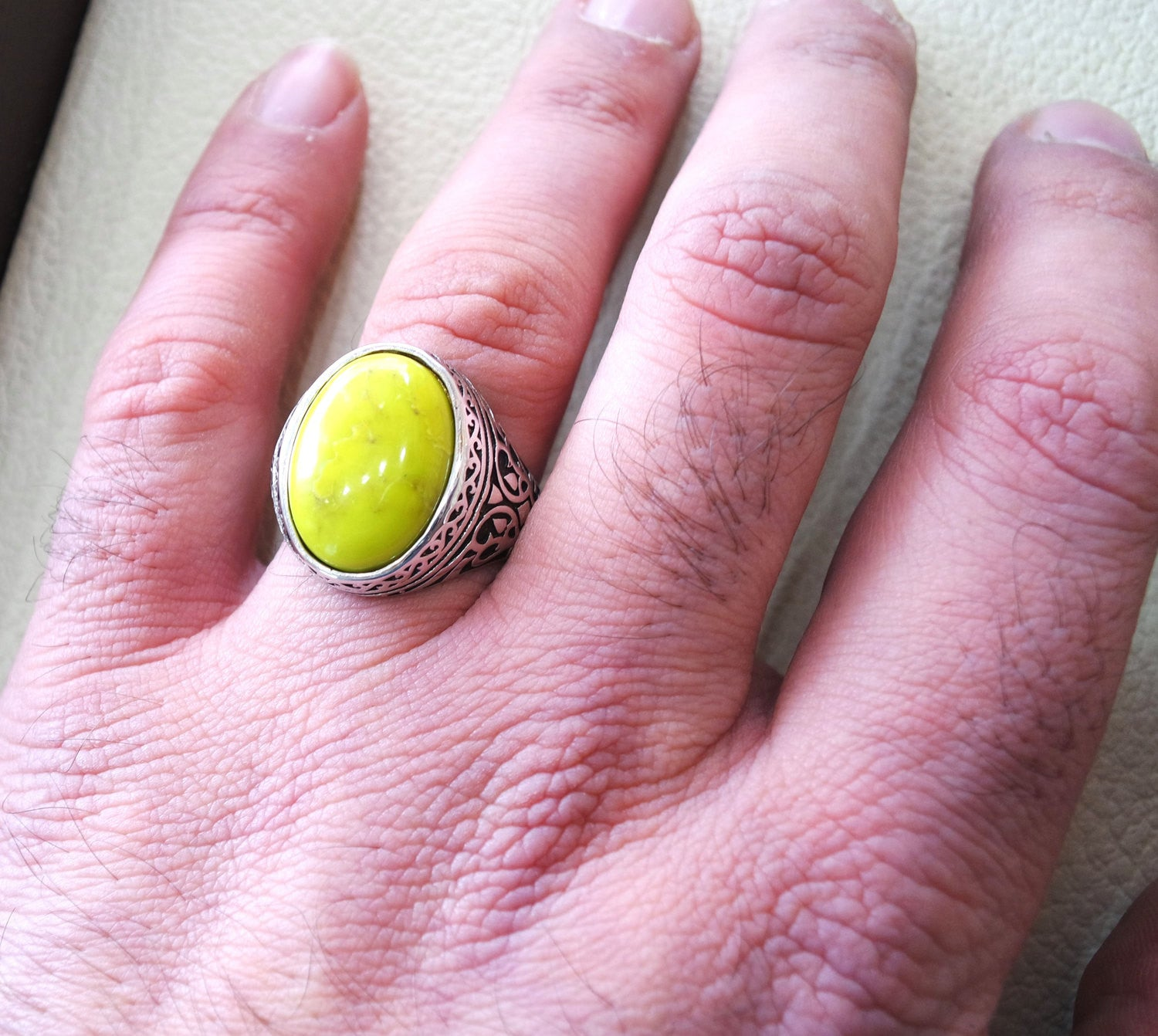 mohave yellow turquoise natural stone semi precious oval gem sterling silver 925 men ring jewelry ottoman style fast shipping all sizes