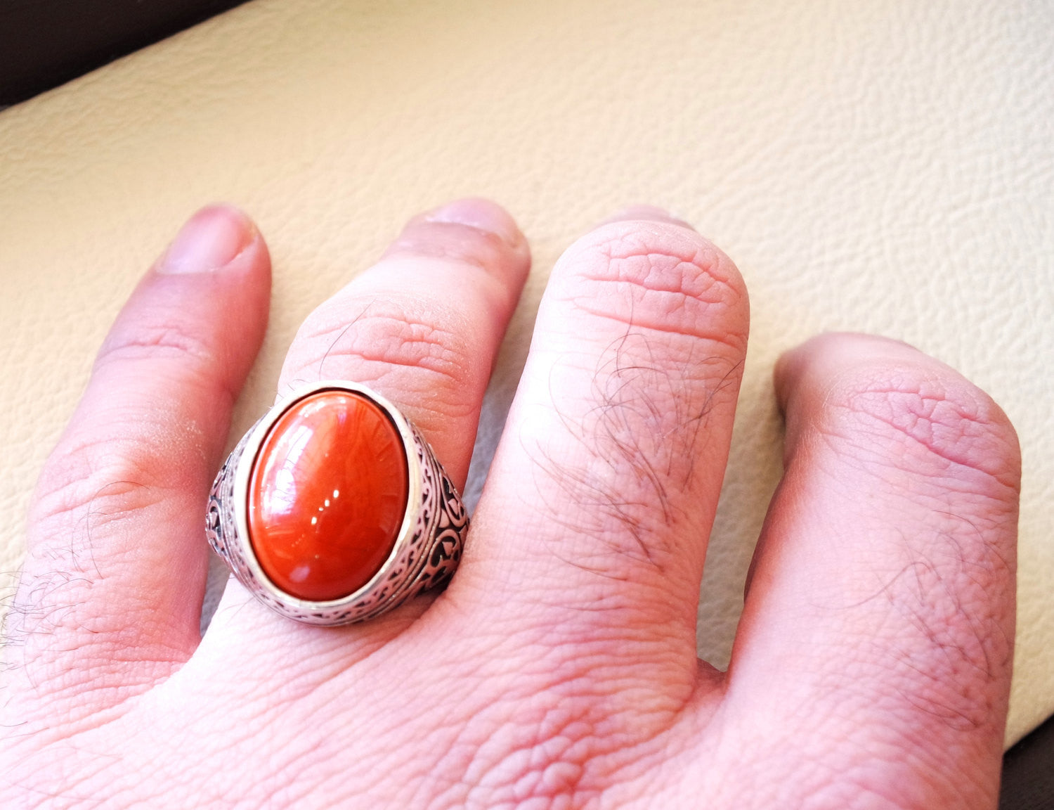 pure red jasper man ring stone natural aqeeq gem sterling silver 925 ring oval semi precious cabochon jewelry fast shipping all sizes